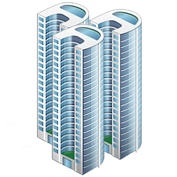 A large three business towers