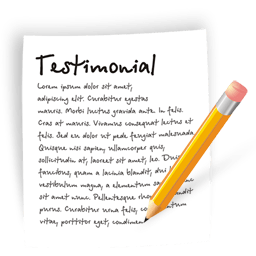 A testimonial paper and a pen