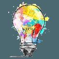 A colorful lightbulb